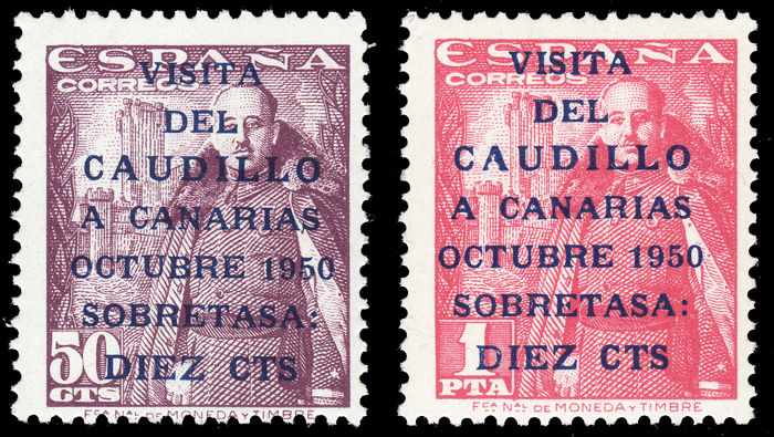 Spain 1951 - Visit caudillo to the Canary Islands. Land - Edifil 1088/89
