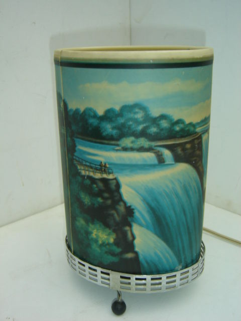 Econolite,, Niagara Falls,, Special vintage lamp with waterfall effect by rotating cylinder.