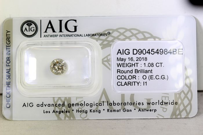 * NO RESERVE PRICE * -  AIG Sealed Diamant - 1.08 ct - O , I1