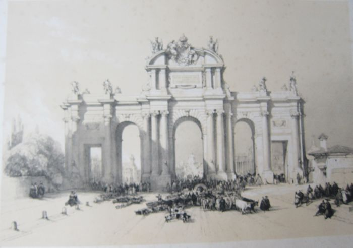España, Madrid; David Roberts - Entrance to Madrid. The Gate of Alcala - 1837