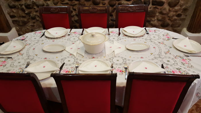 XL tablecloth made by hand in cross stitch embroidery, applications and crochet - 12 napkins - 250 x 165 cm