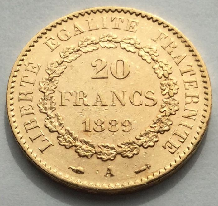 20 Francs 1889-A Genius - Or