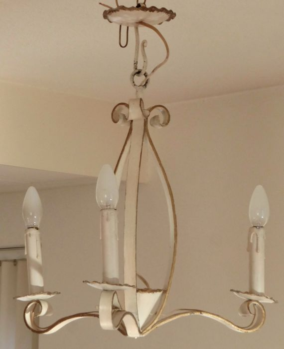 Bric-à-brac wrought iron chandelier with matching wall lights