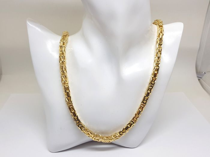 """18K Yellow Gold Mens Necklace """" King Link """" Link, 70,5 cm"""