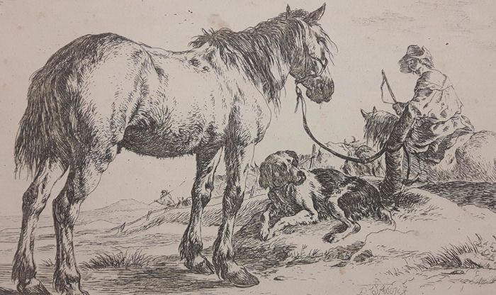 Dirk Stoop (1610-1686) - Horse bound to a post