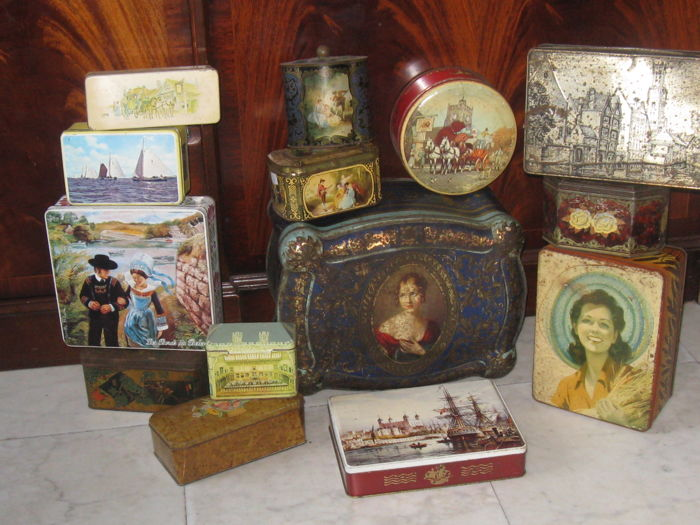 Collection of largely Pre-war shop and storage tins