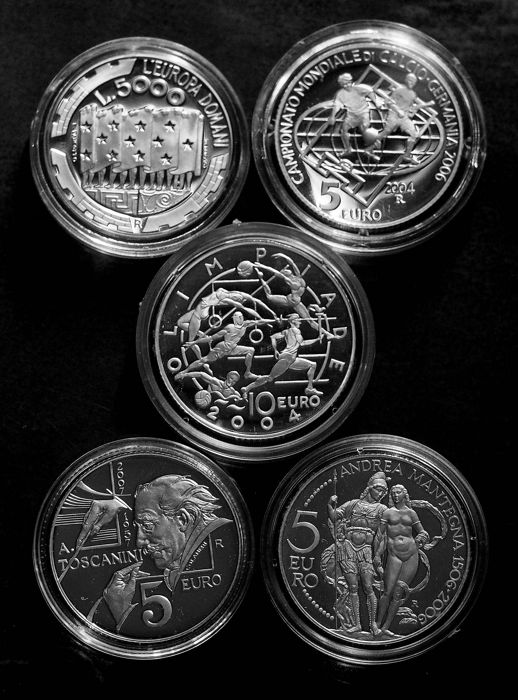 San Marino - 5 different silver occasional coins - issued between 1999 and 2007