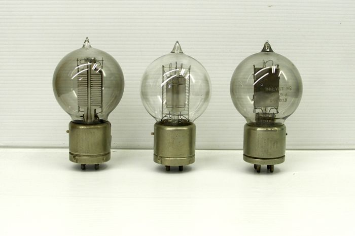 2 x  Standard telephone type  4102 A  amplifier tube & 1 x  Western electric  type 216 A  - 1920s  tennis bal pip top tube