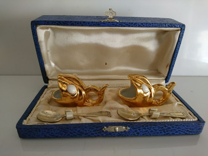 Robj Paris - pair of salt cellars with and their spoons in box - fish