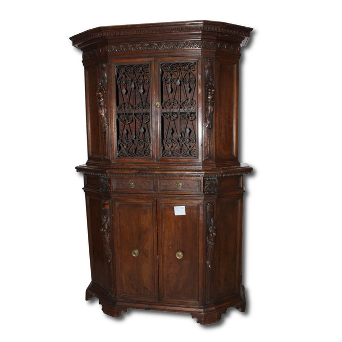 Double body solid walnut sideboard - 19th century