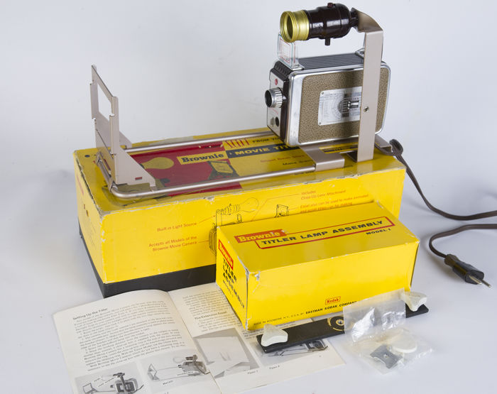 Combination of a Kodak S8 film camera and a Brownie film titler