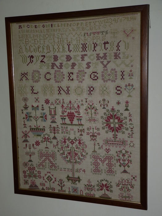 A large antique wall-chart tapestry from 1854