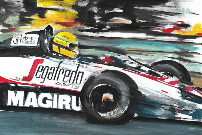 Ayrton Senna Toleman Hart TG183 1983 F1 Car ORIGINAL Acrylic Painting on Canvas hand-made by Artist Andrea Del Pesco + COA.