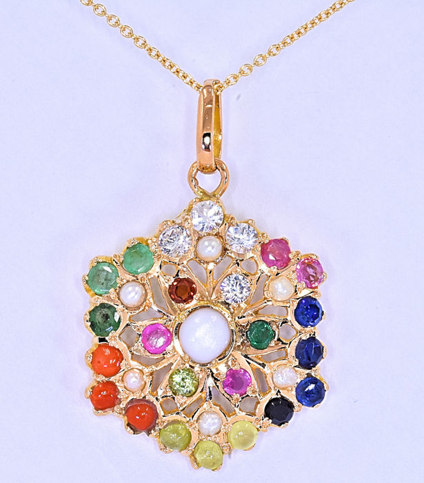 Sapphire, Emeralds, Pink Tourmalines, Ruby, Pearls, Jade, Coral, Peridot, Diamonds necklace *No reserve price!*
