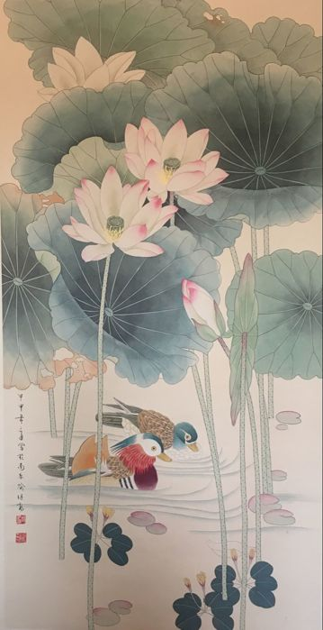 Hand painted large scroll painting, decorative - China - 21st century
