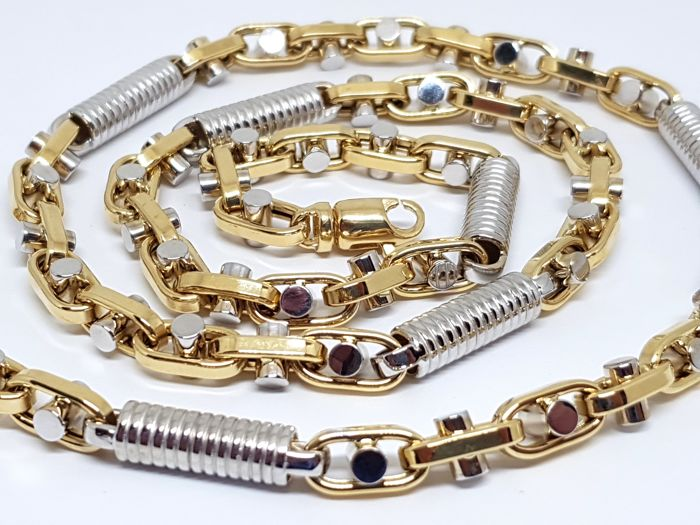 """18K Yellow & White Gold Mens Necklace """" Monte Carlo 2018 """" Link, 66,0 cm"""