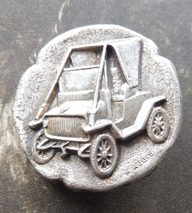 French Vintage A. Augis Hallmarked Silver Car Brooch/Badge.