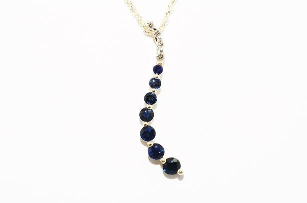 14 kt gold necklace with natural Sapphires and Diamonds of 0.71 ct - Length: 45.5 cm *** No Reserve Price ***