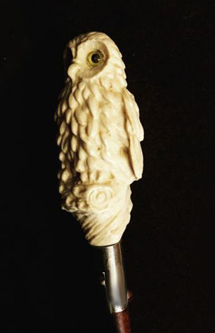 Resin walking stick - owl - ca. 1940