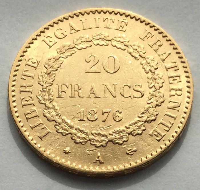 20 Francs 1876-A Genius - Or