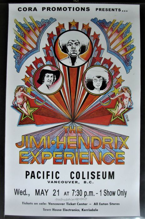 Jimi Hendrix Experience Vancouver Pacific Coliseum 1969 by David Byrd