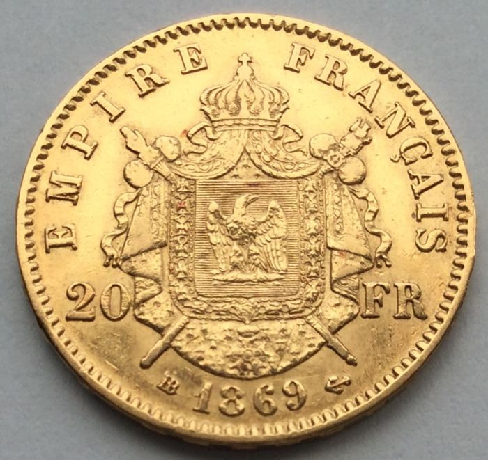 France - 20 Francs 1869-BB Napoleon III - Gold