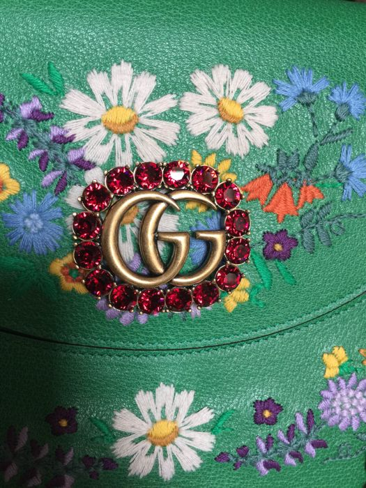 534879be65ce Gucci - Linea Ricami floral embroidered Shoulder bag - Catawiki