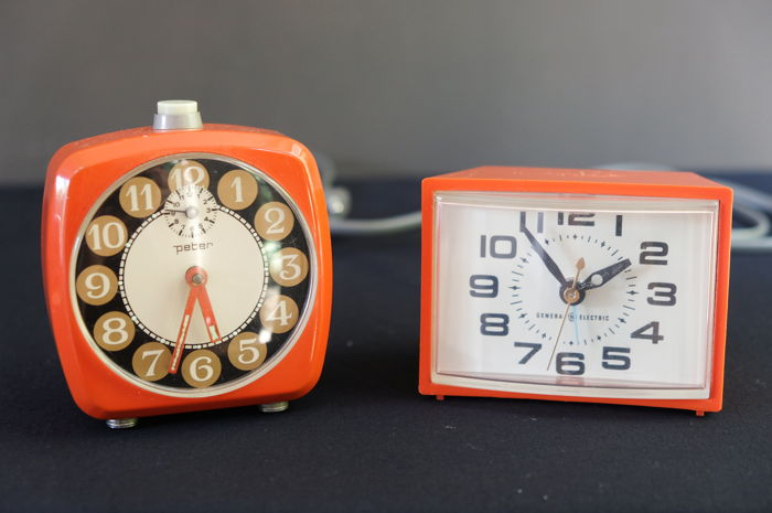 Two retro alarm clocks – produced in America and Germany 1970s