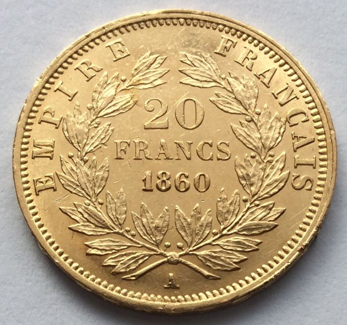 20 Francs 1860 A - Napoleon III. - Or