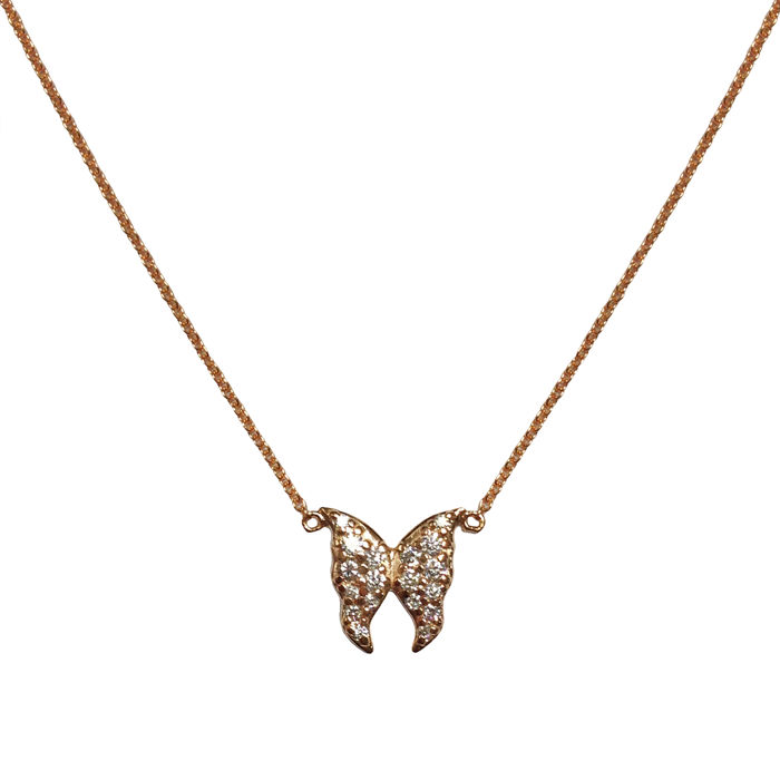 Rose gold necklace with diamond butterfly