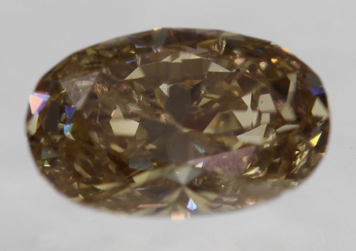Oval Diamond, 0.39 ct, VIVID BROWN, VS1, UNTREATED, UNHEATED, 100% natural [No reserve price], low price shipping