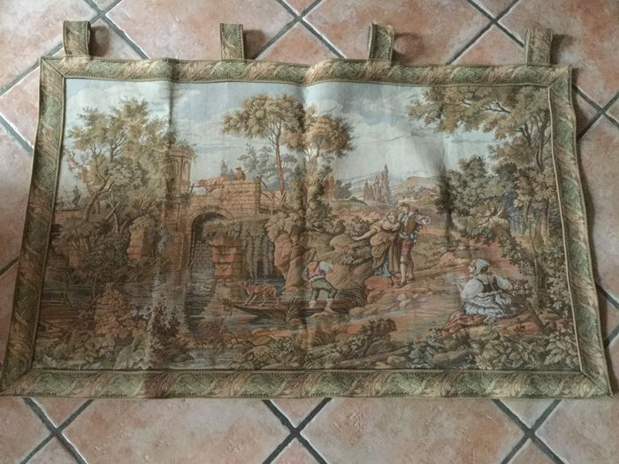 Large Gobelin tapestry with a romantic scene - France ca 1960