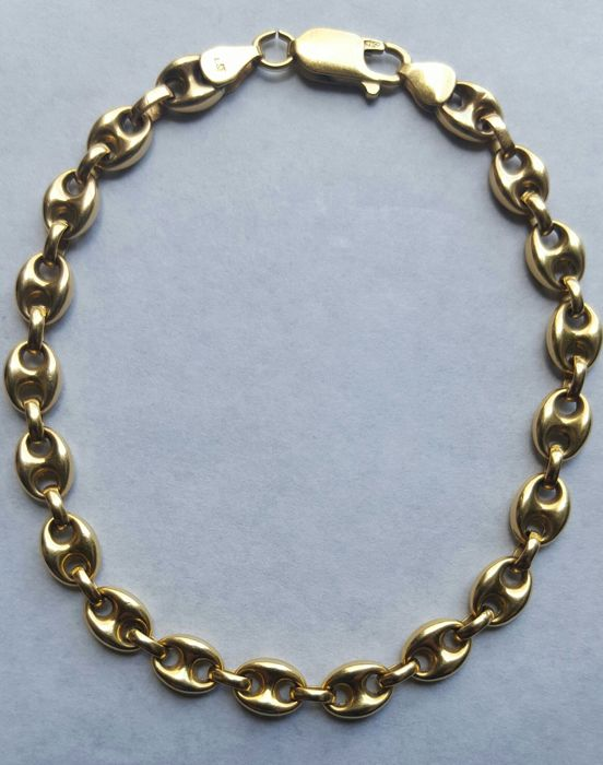 Gold, 18 kt/750 - Hawser link bracelet - Weight: 10.50 grams