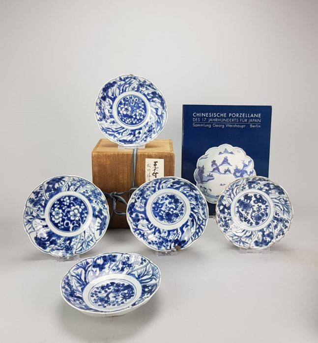 5 pieces Tea Ceremony Bowl set  - China -  Ming / Transitional  -  17th century.