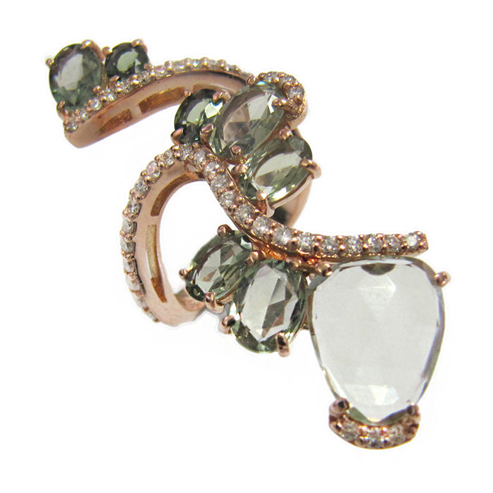 Rose gold ring with diamonds, green sapphires and green amethyst