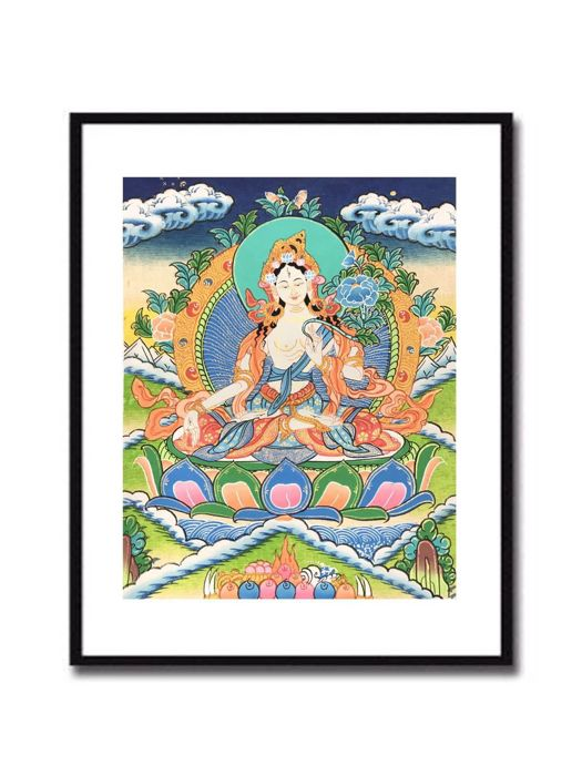 Boutique Small Master Hand-painted Thangka: White Tara - late 20th century