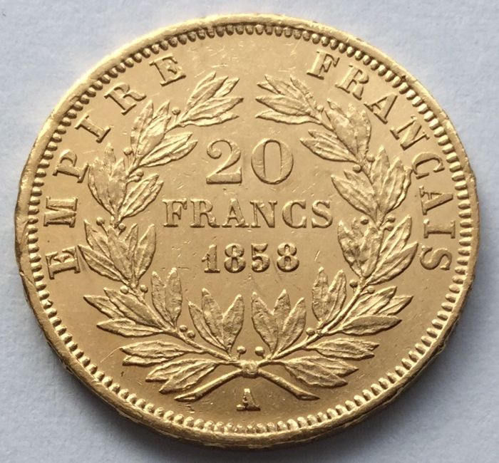 France - 20 Francs 1858 A - Napoleon III. - Gold