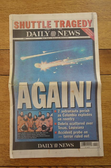 Historical documents - the daily news of February 02, 2003 devoted to the explosion of the space shuttle columbia