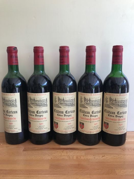 1985 Château Carteau Cotes Daugay, Saint-Emilion Grand Cru - 5 bottles