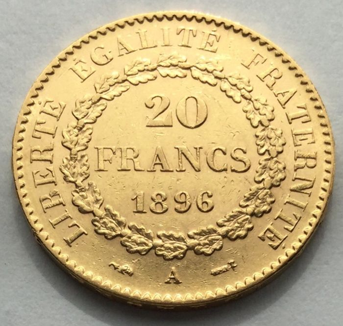 20 Francs 1896 A - Genius - Or