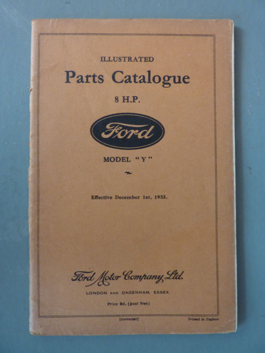 Ford 8 HP Model Y illustrated parts catalogue - 1933