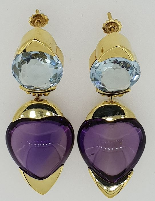 Handmade 18kt yellow gold earrings set with amethyst and tourmaline