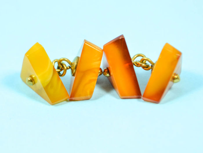 Baltic amber cufflinks from USSR, vintage antique, old honey - egg yolk colour.