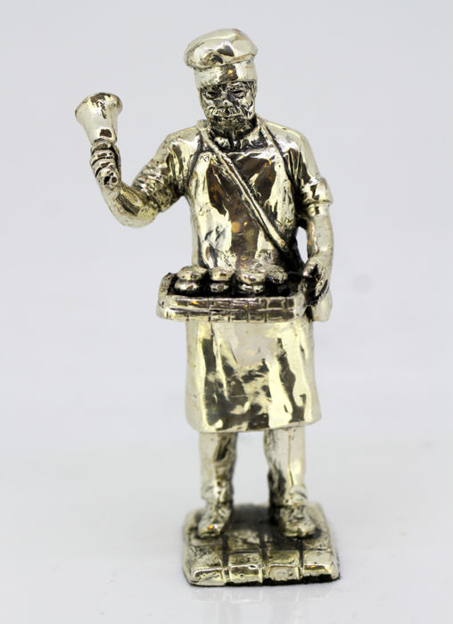 Vintage silver plate town crier figurine, mid 20th century