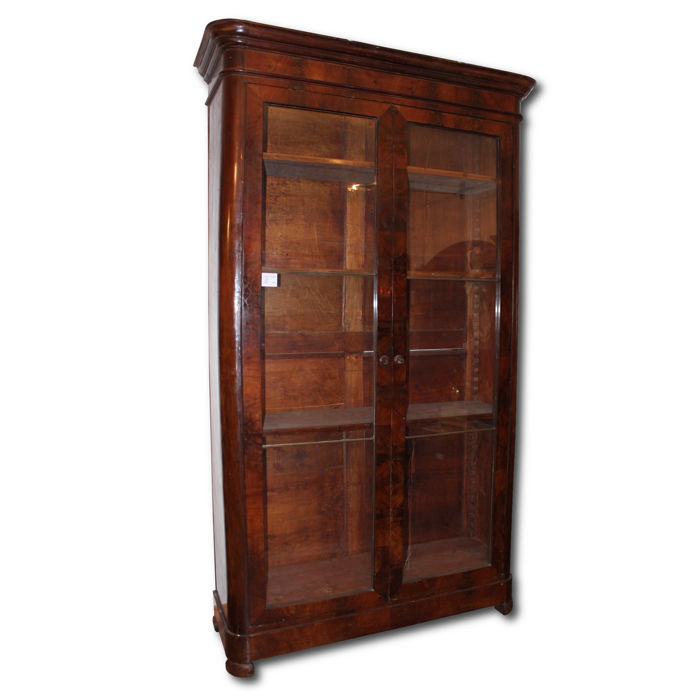 Louis Philippe Neapolitan bookcase made of mahogany feather Period: 19th century