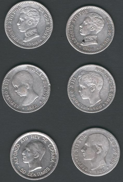 Spain - 50 céntimos x 6 diferentes Peseta 1881-1926 Alfonso XII/Alfonso XIII - Silver