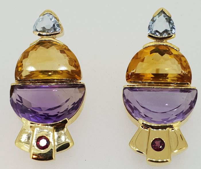 Handmade 18 kt yellow gold earrings set with Amethyst, Citrine, Tourmaline & Pink Rhodolite