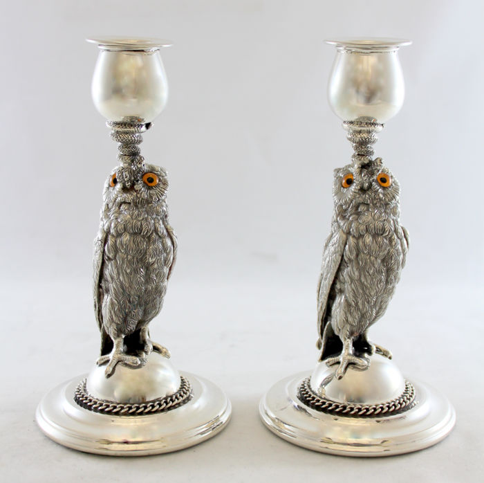 Antique silver plate pair of candlesticks, by Roberts & Belk Ltd. Sheffield Circa.1920