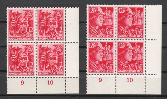 German Empire 1945 - SA / SS in mint never hinged blocks of four from the corner edge - Michel 909-910