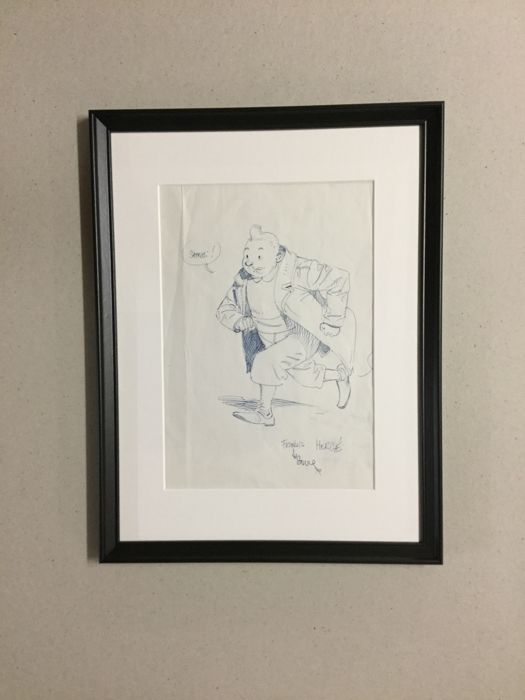 Boucq, François - original drawing - Tribute to Hergé and Tintin - (1980s)